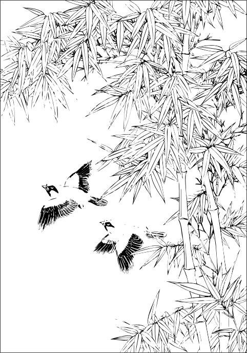 素描风景图片竹子